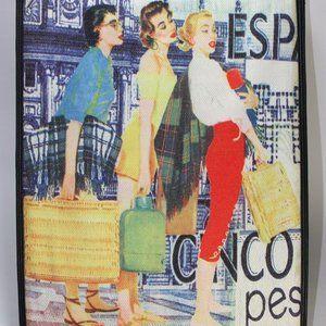 "Tote Purse ""Man Hunt"" 1950's Screen Print EC"